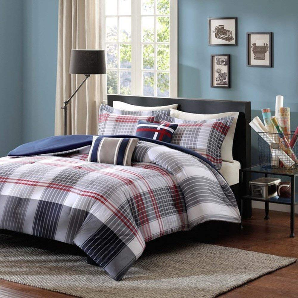 5pc Red Dark Blue Grey Madras Plaid Comforter Full Queen Set, Country Woven Pattern, Burgundy Light Gray Navy White, Tartan Check Stripe Lodge Cabin Themed, Glen Checkered Bedding