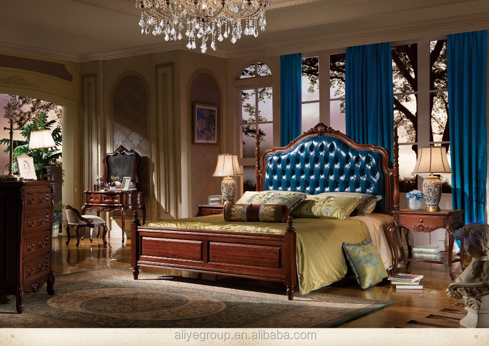 Charming AB37 European Classical Wood Carving Bed Adult Princess Bedroom Solid Wood  Bed