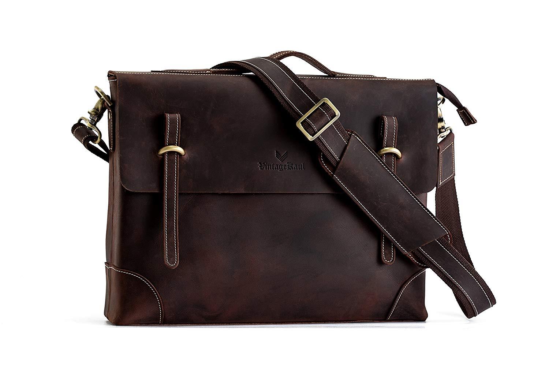 Men's Leather Messenger Bag | 15inch 100% Italian Crazy Horse Leather Laptop Shoulder Briefcase | Imported Genuine Italian Leather Crossbody Satchel | Tote Bag | Computer bag | Retro Bag