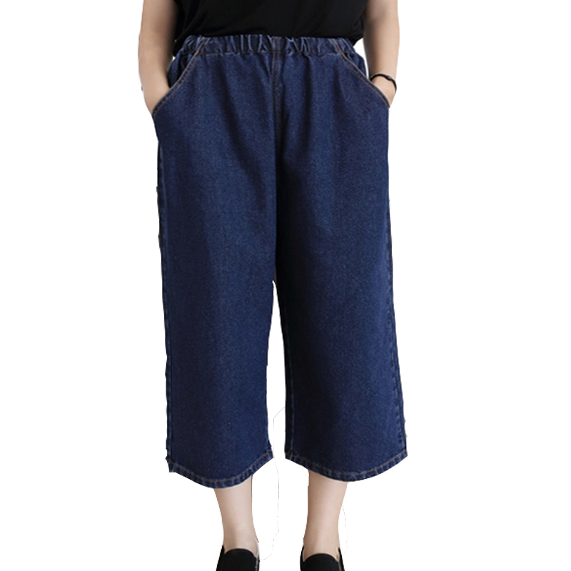 756410fbe5b2e Get Quotations · Vintage wide leg denim trousers womens high waist capri  trousers plus size cropped trousers palazzo pants