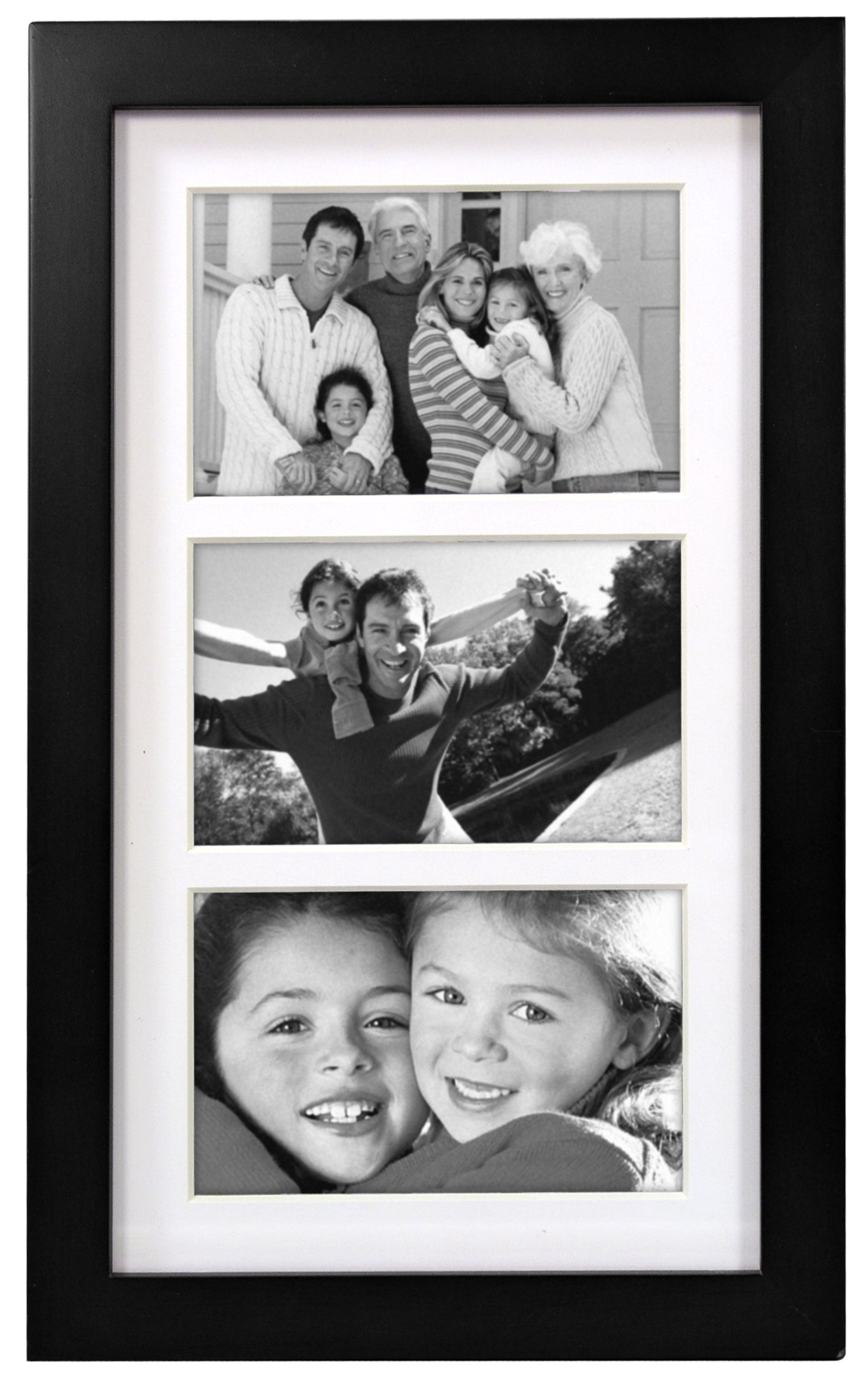 Malden International Designs Matted Linear Classic Wood Picture Frame, Black ( 4x6-Inches  - 3op )
