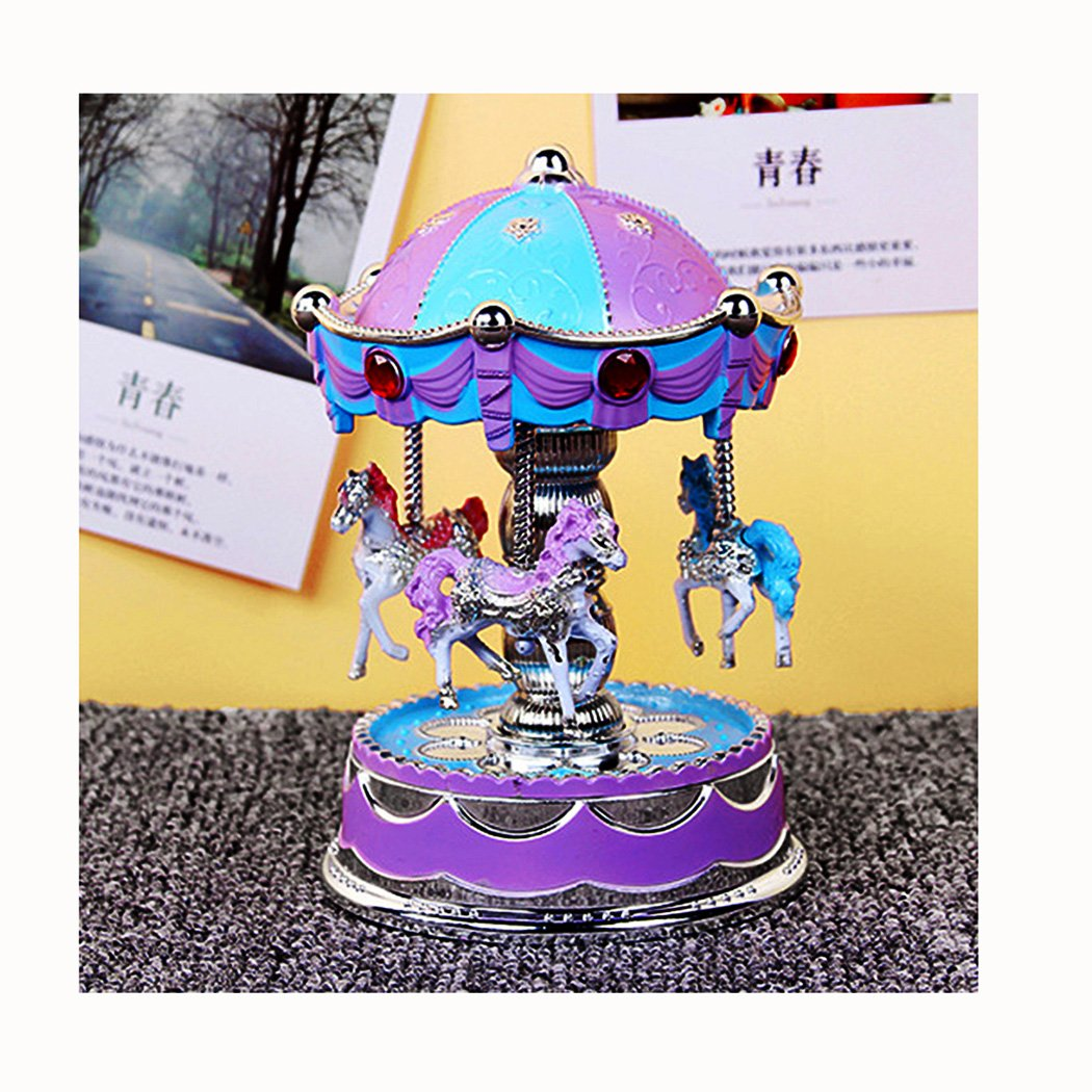 Merry Go Round 3 Horse Rotate Carousel Music Box Toy Classic Carnival