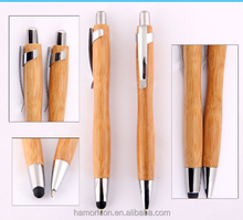 promotional wooden wood bamboo co touch stylus ball pen with metal clip customer logo