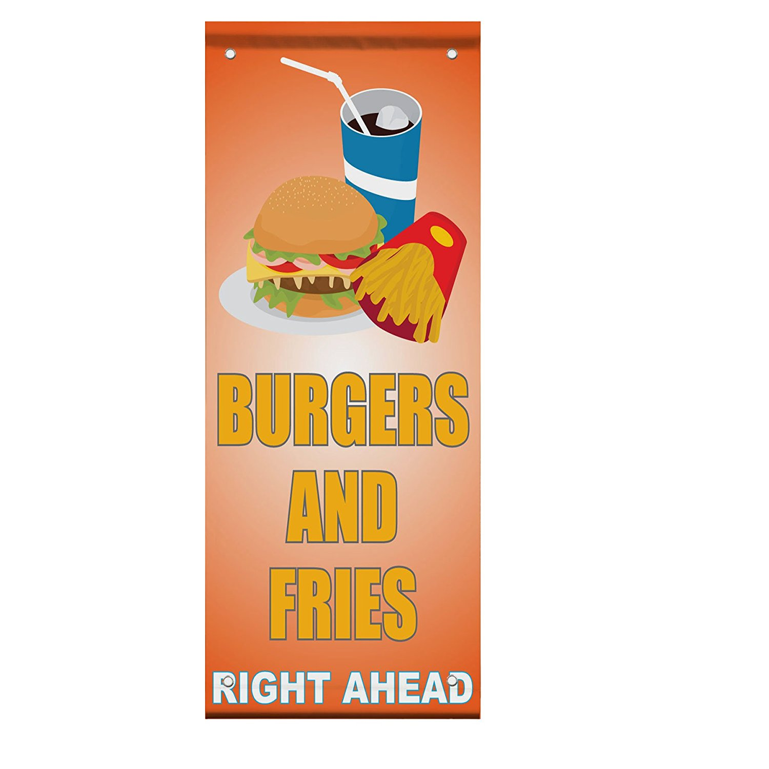Burger And Fries Right Ahead Light Orange Double Sided Vertical Pole Banner Sign 36 in x 48 in w/ Wall Bracket