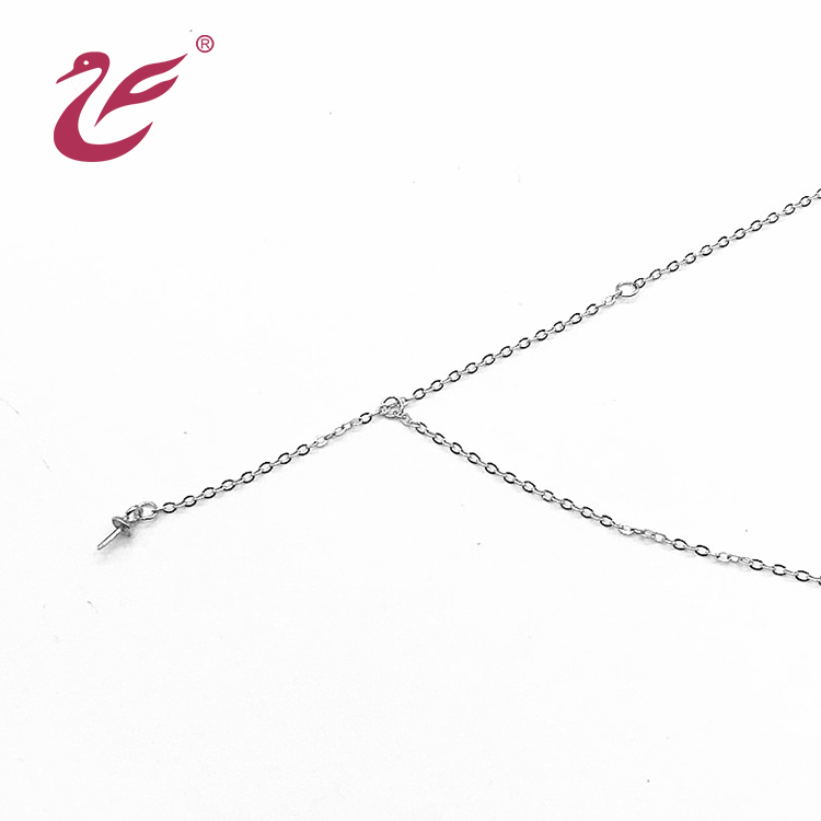 Wholesale custom  jewelry necklace silver long chain pearl necklace for women