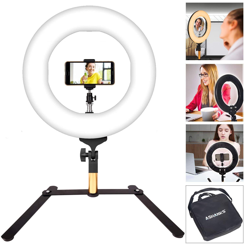 ASHANKS LED Ring Light Camera Photo Flashes, 14inch Video Macro Ring Light 336 LED MSD 2800K-5500K Ring Light Dimmable Fluorescent Flash Lighting Kit for Photography Vine Self-Portrait Video Shooting