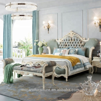 Romantic French Style New Classic New Model King Size Bed White Bedroom  Furniture