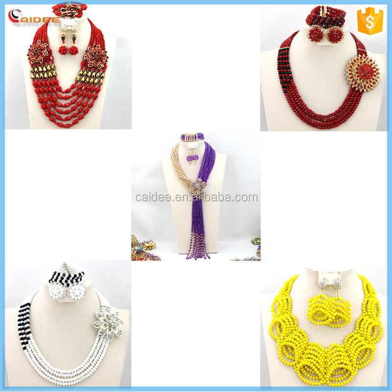 Crystal Beads Necklace Set Nigerian Wedding African Jewelry Set Crystal Jewelry Set J201507003