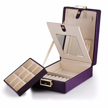Portable cuoio jewelry display box/a specchio <span class=keywords><strong>di</strong></span> trucco cosmetico storage case