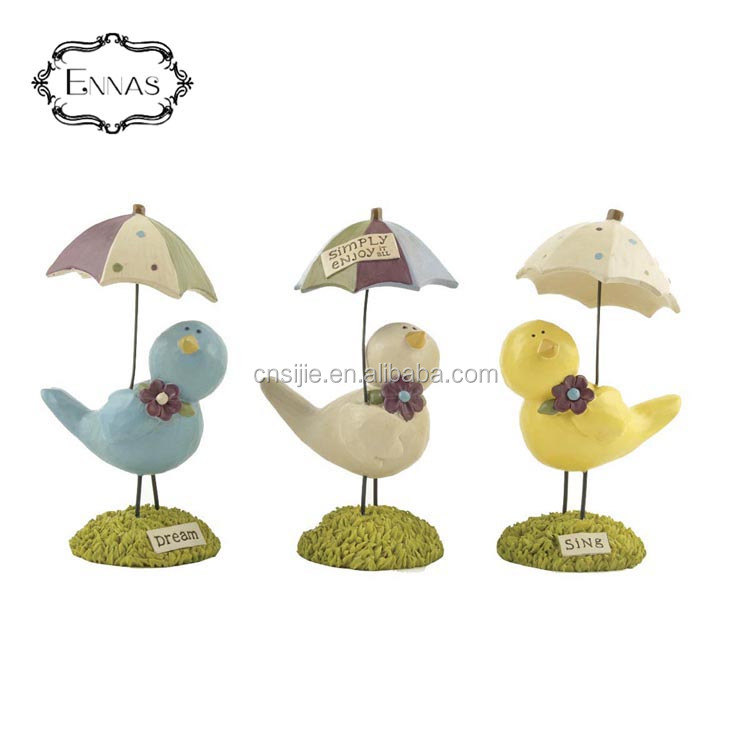 Resin souvenir fashion 3d bird and words figurines for friends