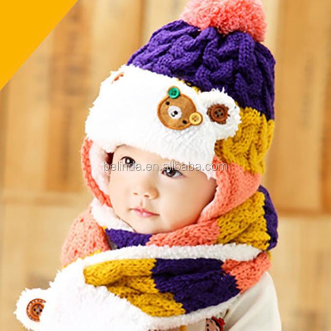Gratis Verzending Door Dhlfedexsf Baby Winter Gebreide Muts Sjaal