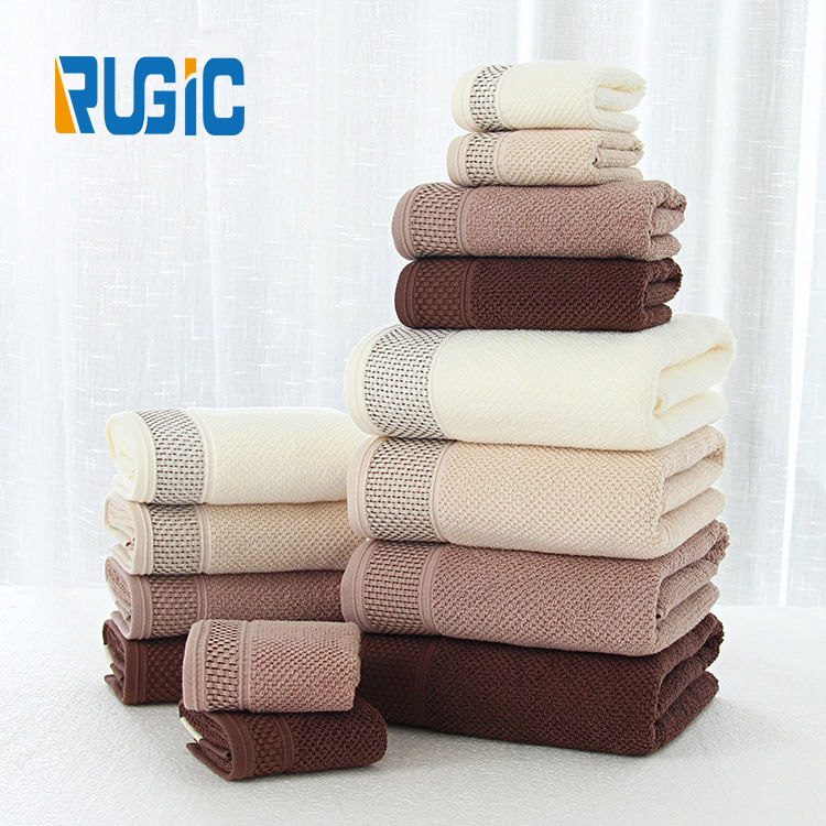 Home Hotel Luxury Modern Wedding Honeycomb Jacquard Pure Cotton Towel set of 3 pcs Face Hand Bath Towel
