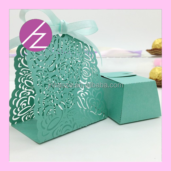 Laser Cut pearlescent paper wedding cake boxes wholesale wedding gift TH-165 Haoze Brand