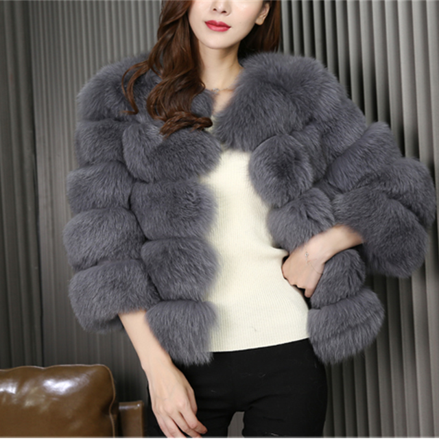 2017 Fashion New Style Wholesale Custom Genuine Fur Coat / Sex Women Winter Natural Real Fox Fur Coat