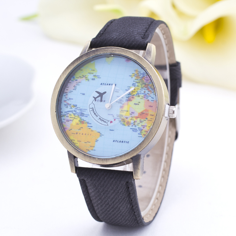 Women Watch Fashion Global Travel By Plane Wristwatch 2015 Ladies Dress Watches Quartz Sport Casual Clock relogios femininos 085