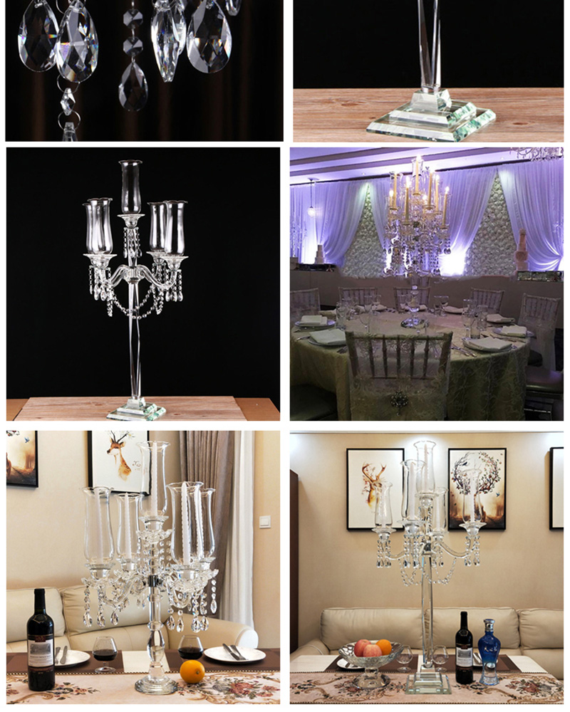 ROMANTIC GLASS HURRICANE WEDDING 9 ARM CANDELABRA CUT CRYSTAL CHANDELIER CANDLESTICK CRYSTAL COLUMNS WEDDING DECORATIONS