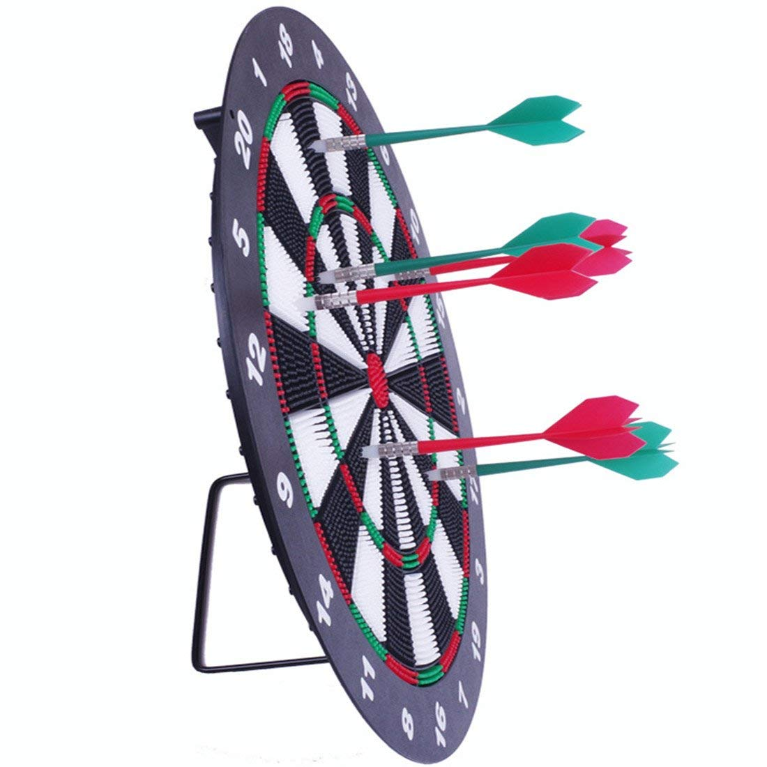 LEOSO Safety Dart Board Set with 6 Soft Tip Darts 16 Inch Rubber Dart Board for Kids Adults Office and Family Time