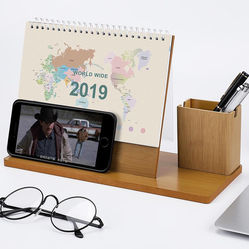 사용자 정의 인쇄 데스크 캘린더 2019 나무 스탠드 장식 테이블 달력 penholder 및 선물 상자