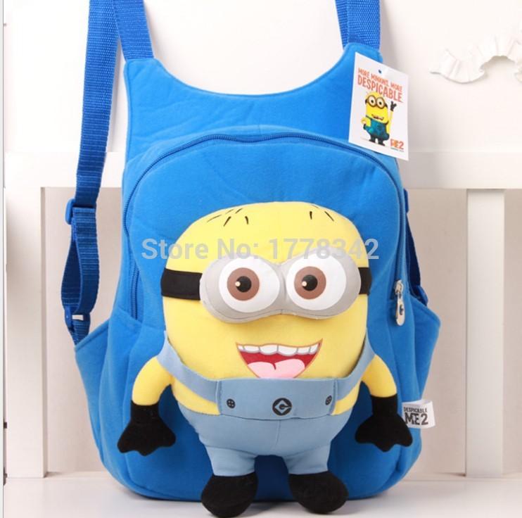 Детские рюкзак симпатичные 3D глаза гадкий я миньон плюшевые рюкзак детская школа ребенка мальчик и девочка мультфильм сумка мешок школы