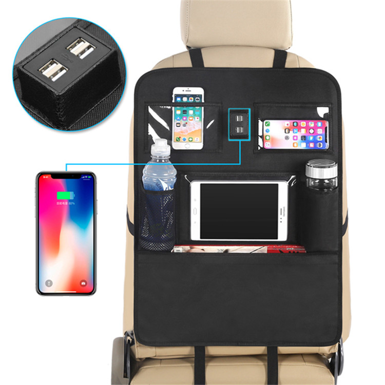 Autositz-Rücken-Organisator-Rücksitz-Organisator für Laptop-Telefon mit USB-Ladegerät 4