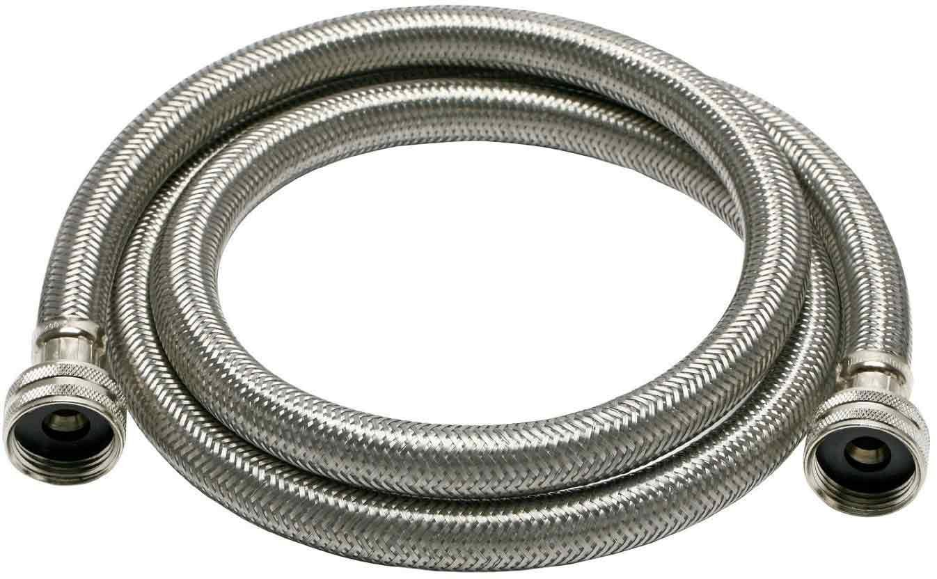 Fluidmaster B9WM72HE High Efficiency Washing Machine Connector, Braided Stainless Steel - 3/4 Hose Fitting x 3/4 Hose Fitting, 6 Ft. (72-Inch) Length