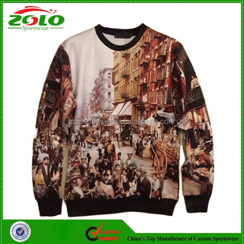 Unique design custom fully dey sublimation printing american style sweatshirts