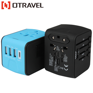 world universal 4 usb travel adapter double socket electric outlet