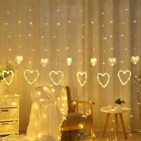 New Sign Love Hearth Shape star led fairy light black curtain for Indoor Decoration
