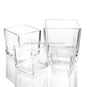 10*10*10cm High Quality Cheap Hot Selling Clear Glass Square Flower Vase 36pcs/ctn