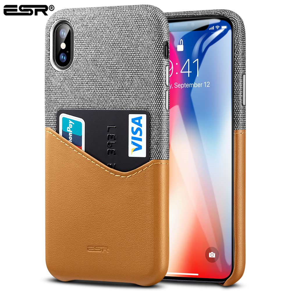 ESR Case for iPhone X Cover High Grade Leather with Soft Fabric Thin Light Card Slot Shockproof Case for Apple iPhone X 10