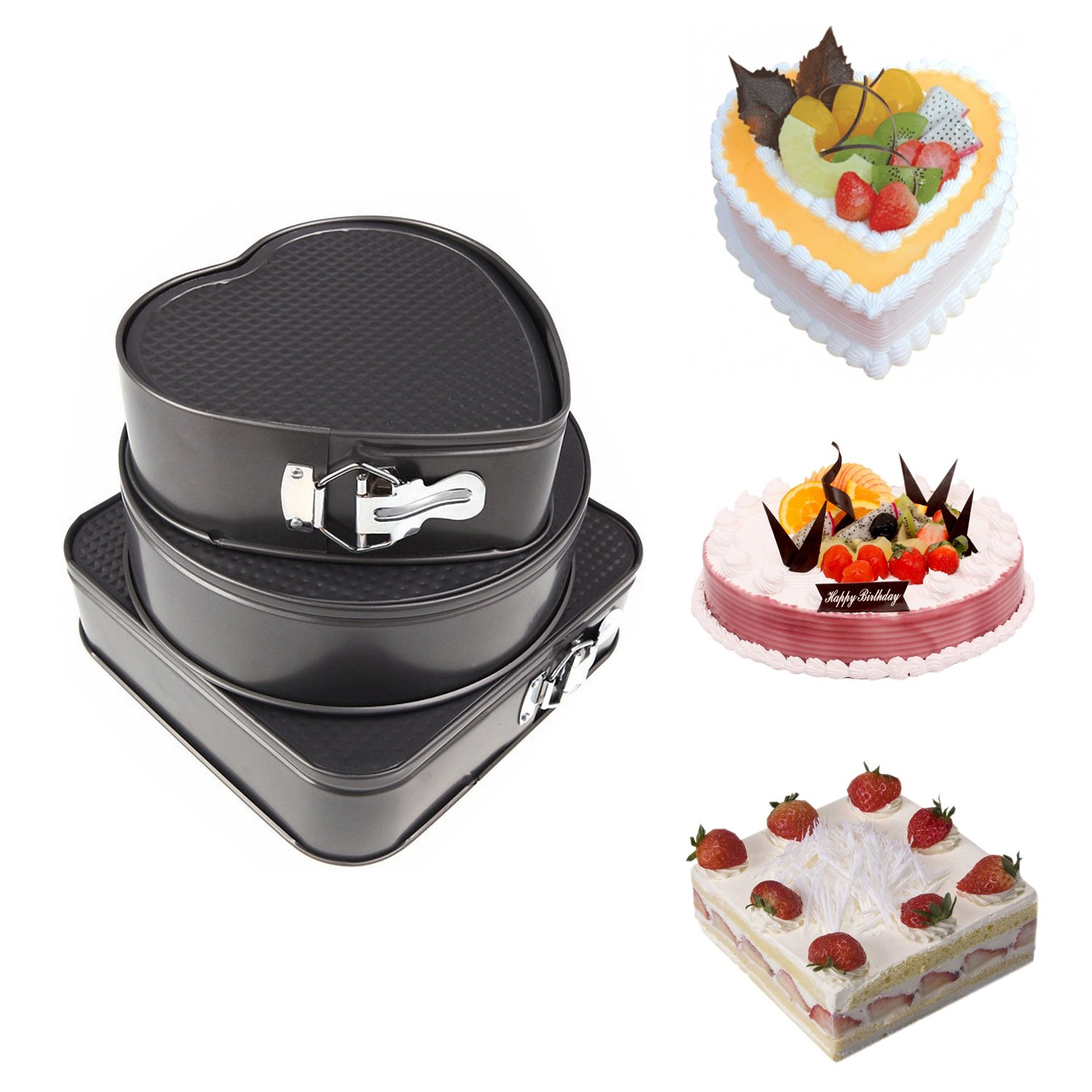 Get Quotations Springform Pan Yummy Sam Non Stick Leakproof Cheesecake Cake Molds Pans