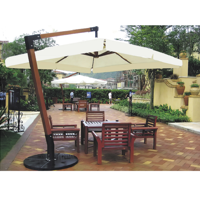 Wooden Pole Parasol Cantilever 3 5m Sun Beach Umbrella