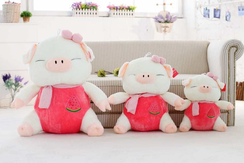 Promotional wholesale logo customized pink stuffed plush fat pig farm animal toy gift with matched scarf&bowknot