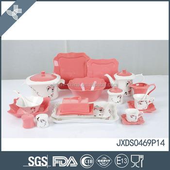 2015! New Fine Porcelain Square Dinner Set,Flower Decal Dinnerware ...