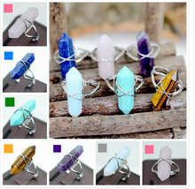 Hot Sell Quartz Crytal Rings Sild Plated Green Blue Pink Black Natural Stone Ring Womens Wedding