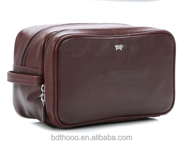Luxurious custom factory business men's toilet bag kit leather wash bag