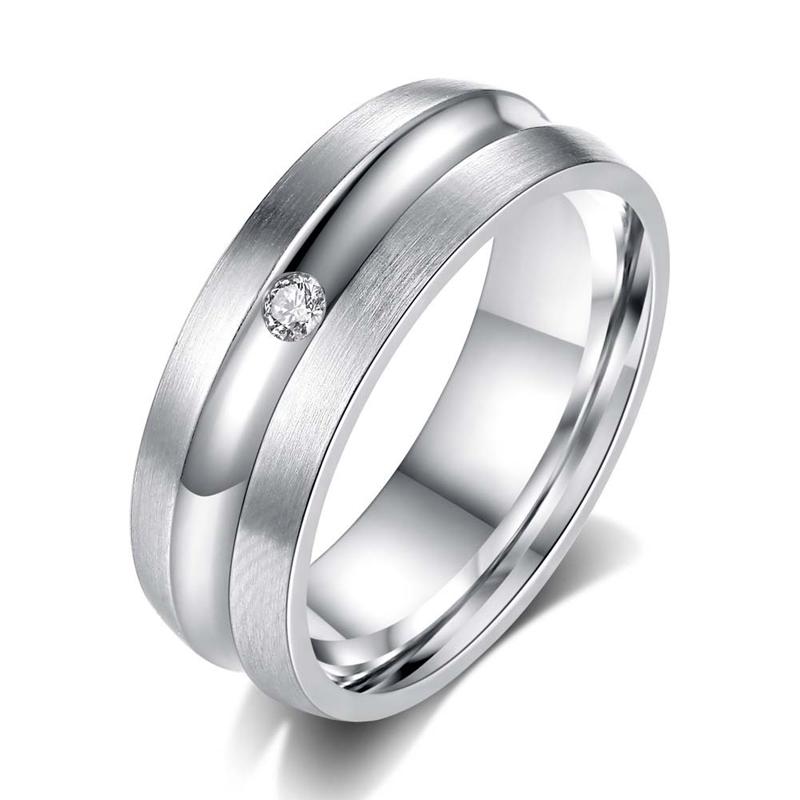 Silver Plated Stainless Steel Men Rings AAA Zircon Diamond Rings R62 фото