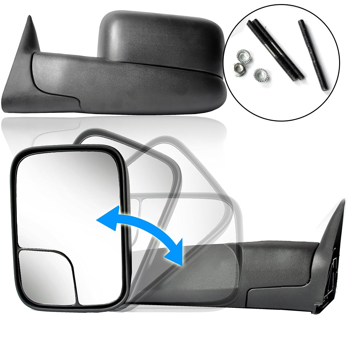 ECCPP For Dodge 94-01 Ram 1500, 94-02 Ram 2500 3500 Pickup Truck Manual Towing Tow Mirror Left Driver and Right Passenger Pair Set Fits 60177-78C Side Mirror (1994 1995 1996 1997 1998 1999 2000 2001)
