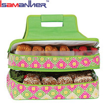 Entertainer Hot & Cold Food Carrier, Two Layer Insulated Fitness Cooler Lunch Bag