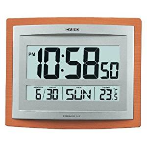 Casio Id-15s-5 Wall and Table Wood Grain Pattern Clock Temperature Digital Auto Calendar Thermo Large Wall Clock Limited Edition Battery Included
