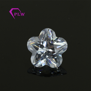 Rough Cut Stone Crystal White Flower Shape Customized CZ Gem Stone Grade AAAAA Cubic Zirconia For CZ Loose Stone