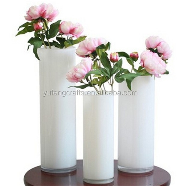 White Glass Cylinder Vases Floral Bouquet Container Wedding Fav