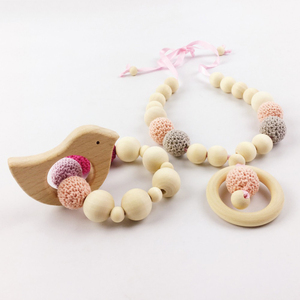Unique Funny Toy Baby Wooden Pacifier with Animal Pendant