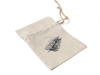 cheap reusable cotton linen jewelry drawstring pouch bag printed stenciled fern