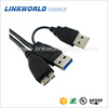Super speed USB 2.0 USB 3.0 Type A to Micro USB Y Cable Adapter