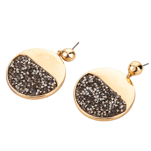 Latest fashion wholesale drop earrings,gold color round alloy earring with druzy stones for 2018 jewellery Bridal Party