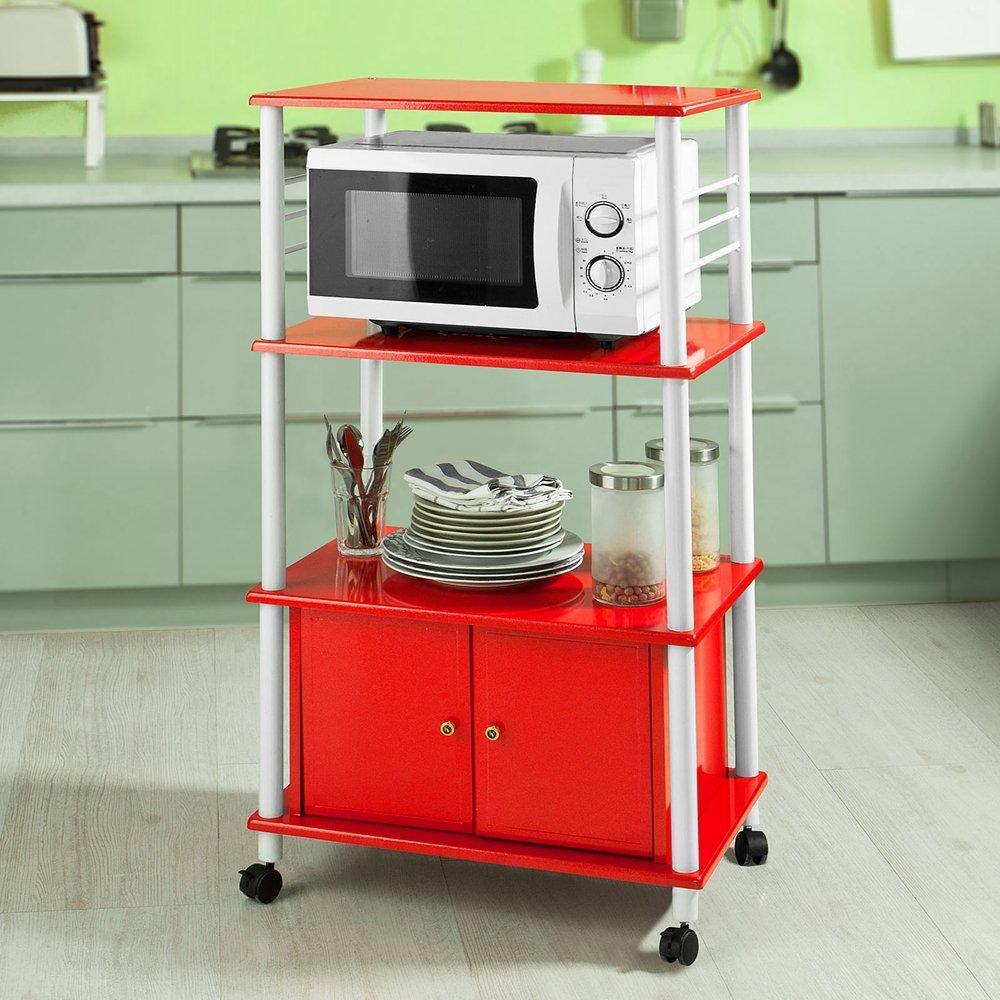 Haotian White Microwave Shelf, Kitchen Wheeled Storage Trolley, Kitchen Cabinet, 3 Shelves + 1 Cabinet, FRG12-R ,red