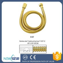 flexible Titanium gold plated stainless steel shower hose