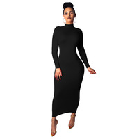 2019 AliExpress Hot Selling Casual Dresses Women Solid Color Long Sleeve Party Bodycon Dress