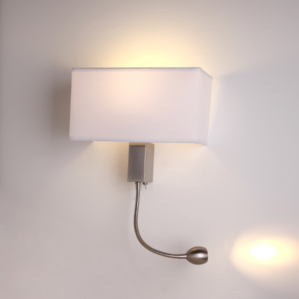 Buy cheap china fabric wall lamp shades products find china fabric energy saving led modern wall sconce lamp brushed nickel white fabric shade with reading lamp aloadofball Images